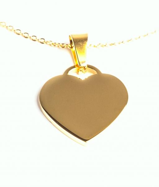 67ffa8c3b Malé ocelové srdce ve zlatém provedení, možno použít jako psí známku ...